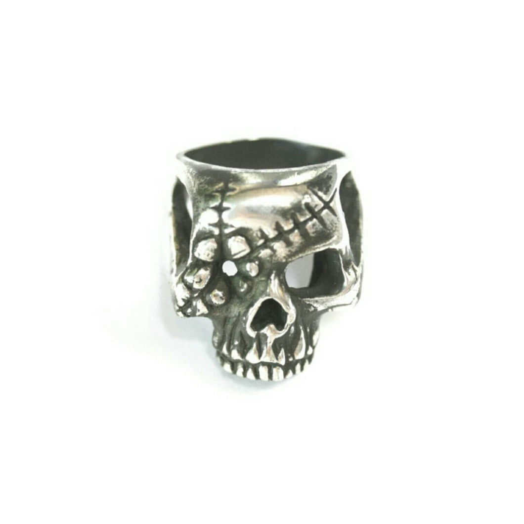 Sterling Silver Flower Skull Ring