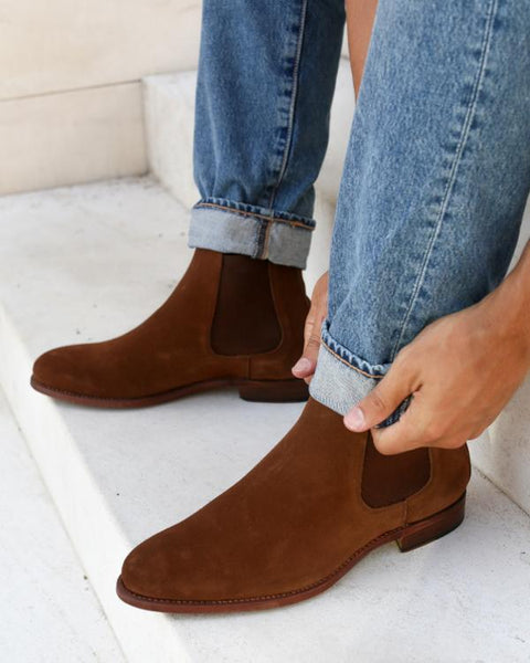 NYC Chelsea Suede Boots in Whiskey