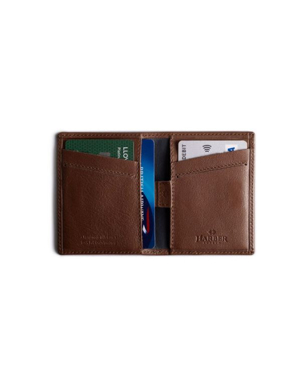 HARBER LONDON · CARD WALLET WITH RFID PROTECTION · DEEP BROWN