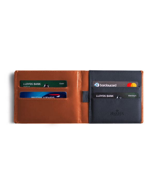 HARBER LONDON · BUSINESS WALLET WITH RFID PROTECTION · TAN/GREY
