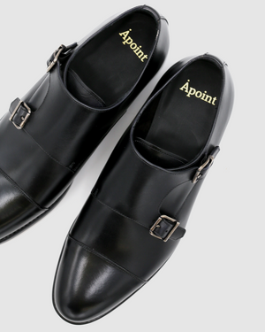 Cambridge - Double Monk Leather Shoes - Black