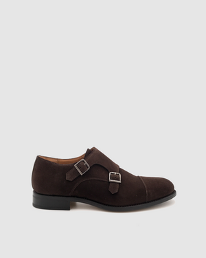 Cambridge - Double Monk Suede Shoes - Moka