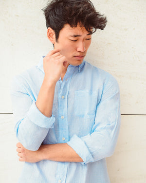Men Linen Shirt - Light Blue