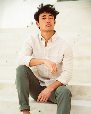 Men Linen Shirt - Off-White