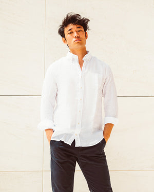 Men Linen Shirt - White