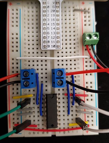 Close up of breadboard