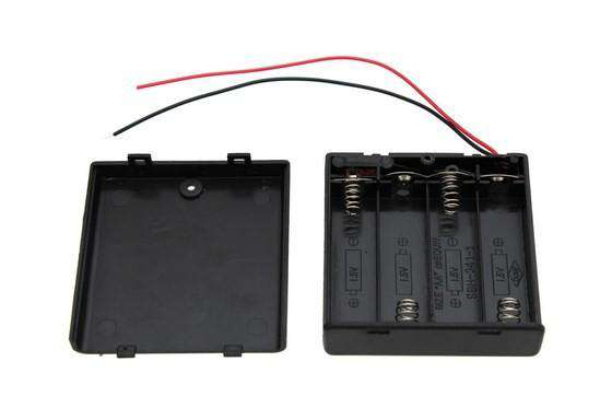 4xAA Covered Battery Holder with Switch and Leads