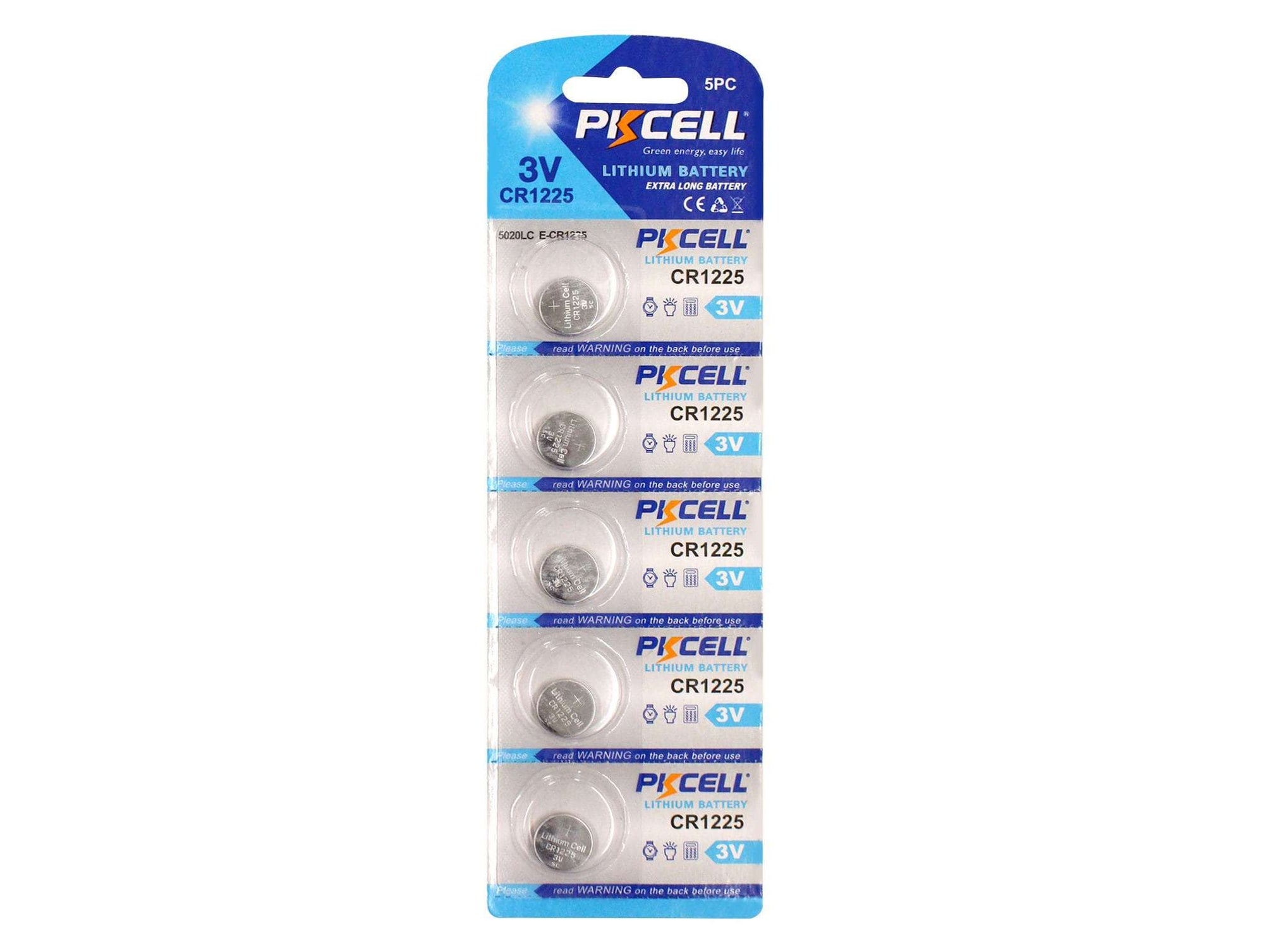 PK Cell Lithium Button Cell CR1225 - 5 Pack