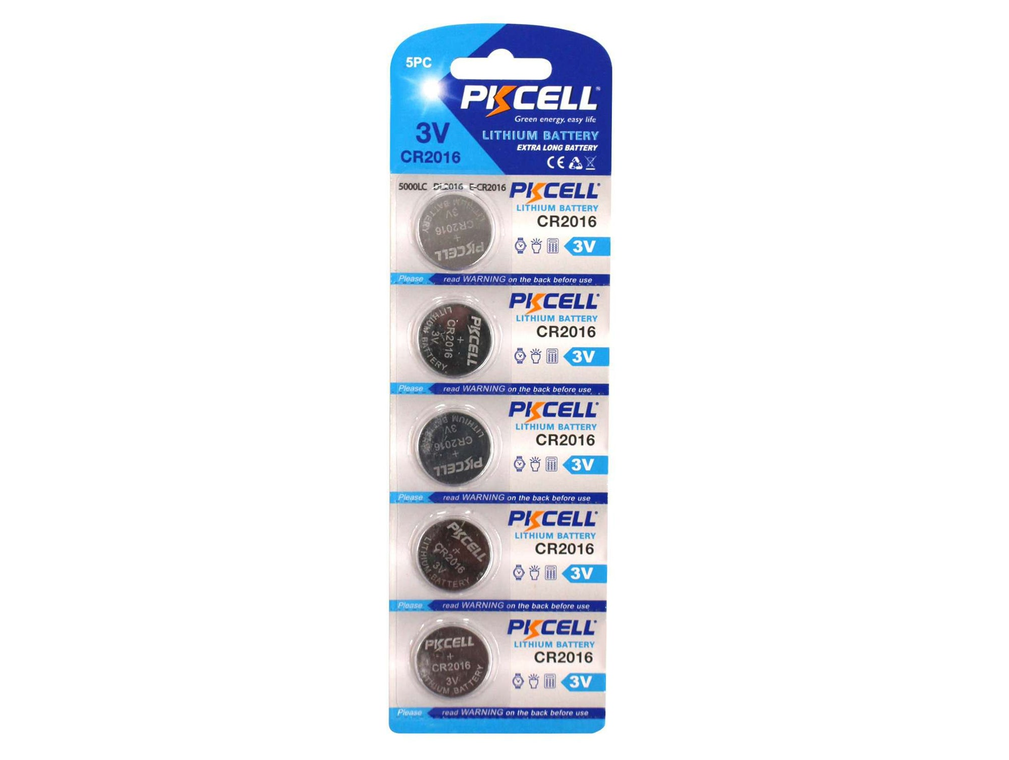 PK Cell Lithium Button Cell CR2016 - 5 Pack