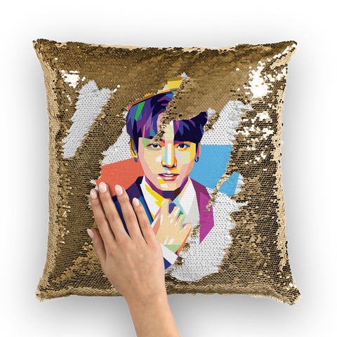 Golden Maknae Sequin Cushion Cover