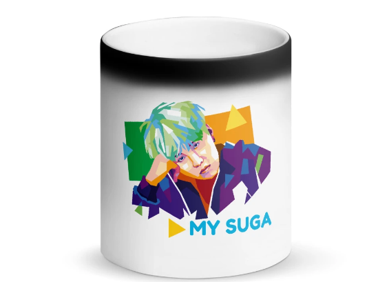 """My Suga"" BTS Matte Black Magic Color Changing Mug"