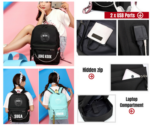 BTS Member Backpack with USB Interface