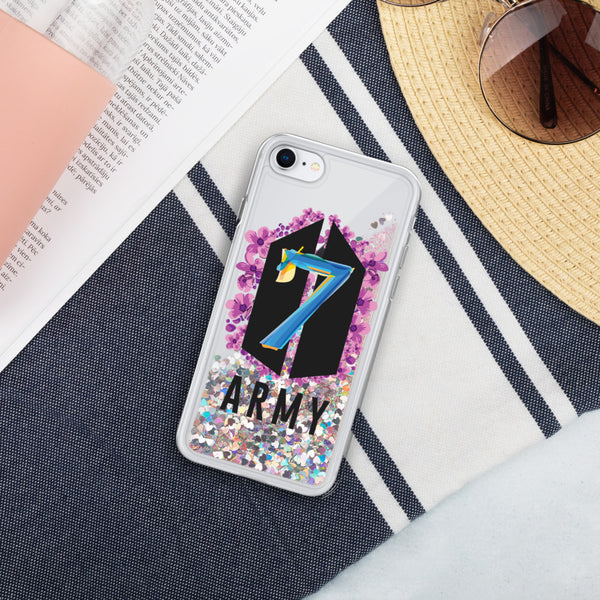 BTS 7th Anniversary Army Liquid Glitter Phone Case for iPhone