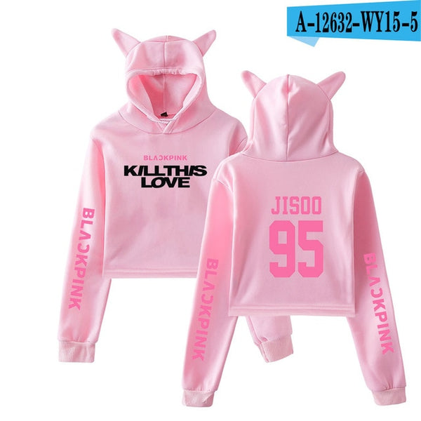 "Blackpink ""Kill this love"" cat-ears cropped hoodie"