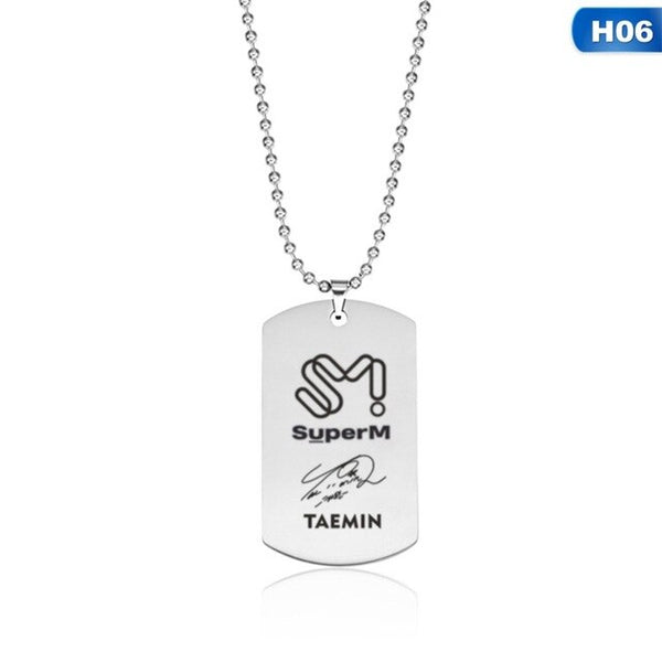 SuperM Pendant Stainless Steel Necklace dog tag
