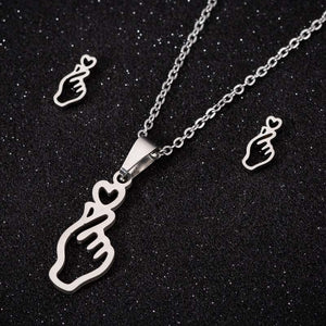 Kpop finger heart earring and necklace set