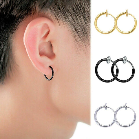 Non pierced Kpop hoop earrings