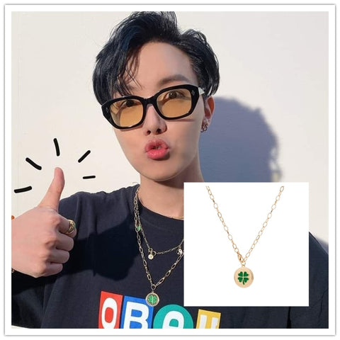 "J-Hope ""Good Luck Charm"" Green 4 Leaf Clover Necklace"