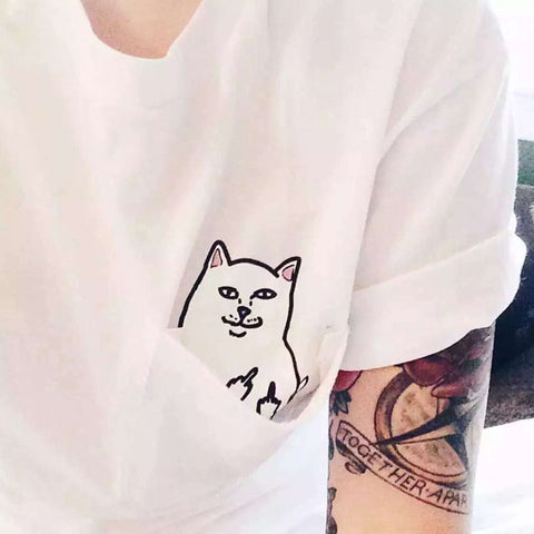 Korean Alien Cat Middle Finger Tshirt