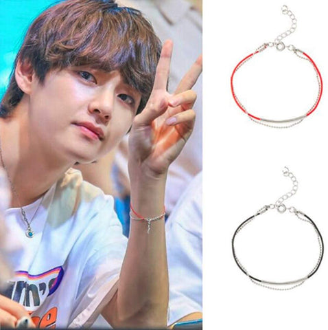 Taehyung V red leather bracelet unisex