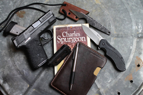 Every Day Carry EDC Pocket Dump Gear - S&W M&P Shield, Penny Face Knives Neck Knife, Kershaw Folder Knife, PFK Leather Pocket, Field Notes Notebook, 5.11 Tactical EDC Flashlight, Charles Spurgeon Biography Book