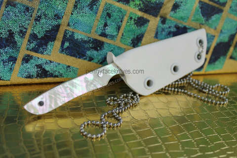 Handmade File Womens Neck Knive with Pretty Seashell Handle Scales by Aaron Roberts of Penny Face Knives