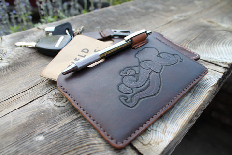 Hand tooled Genuine Leather Field Notes Pocket with Octopus by Aaron Roberts of Penny Face Knives and Leather