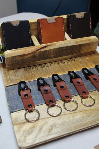 Genuine leather keychains and wallets handcrafted by aaron roberts of penny face knives and leather great gift