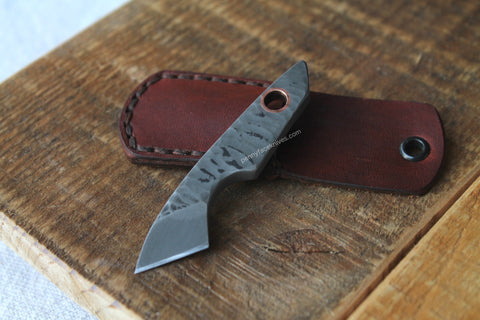 Hammer Forged Spring Steel Micro Kiridashi with Copper Tubing.  Includes Hand Crafted Genuine Leather Sheather with Hand Sewn Saddle Stitching by Aaron Roberts of Penny Face Knives