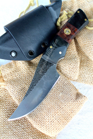 Patchwork Hunting Knife by Aaron Roberts of Penny Face Knives. Ammunition Pin detail.  Pieced Wood and G10 Handle Scales.