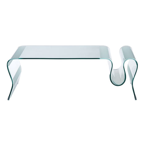 Zuo Modern Discovery Coffee Table Clear Glass 404102 West Dwelling Furniture