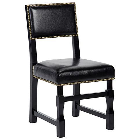 Abadon Side Chair W/leather Distressed Black - Dining Chairs
