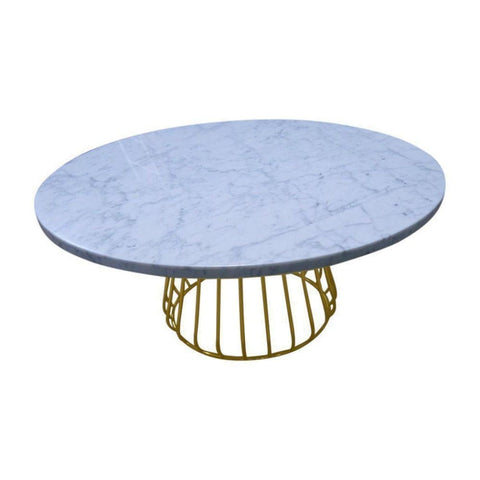 Alessia Coffee Table - Carrara Marble Top & Gold Base - Coffee Tables