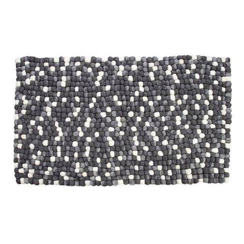 Amala - Handmade Wool Felt Pebble Rug - Grey - Rugs