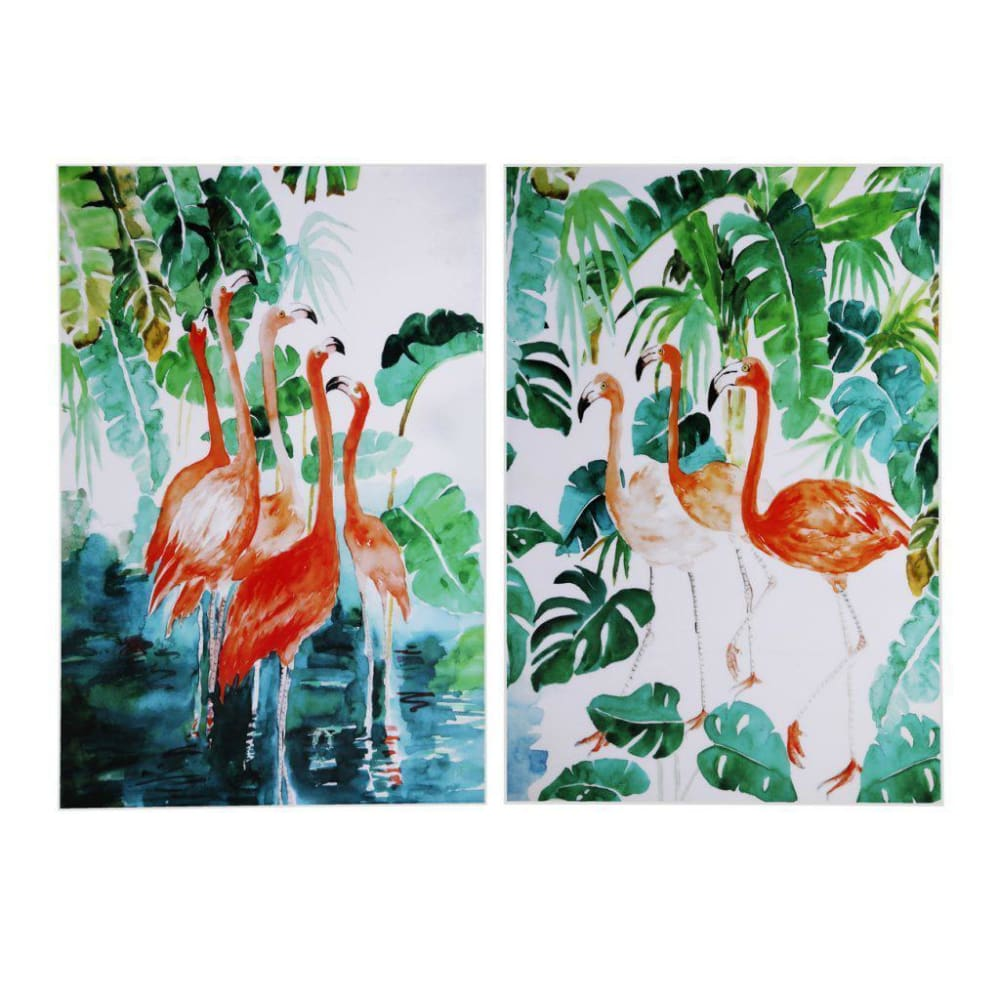 Botanical Flamingos Wall Art Set Of Two - Wall Art