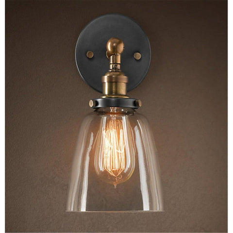 Factory Filament Clear Glass Cloche Wall Lamp - Wall Sconces