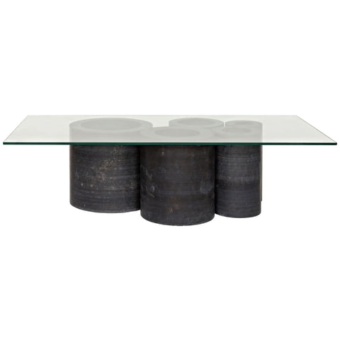 Golyath Coffee Table Black Stone And Glass - Coffee Tables