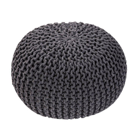 Handmade Round Knitted Pouf | Charcoal Gray | 50X35Cm - Poufs