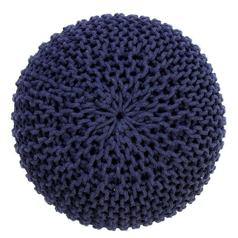 Handmade Round Knitted Pouf | Navy Blue | 50X35Cm - Poufs