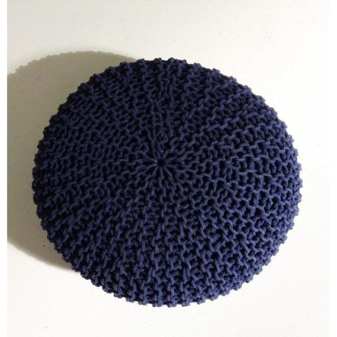 Handmade Round Knitted Pouf | Navy Blue | 80X35Cm - Poufs