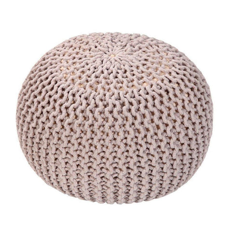 Handmade Round Knitted Pouf | Silver Gray | 50X35Cm - Poufs