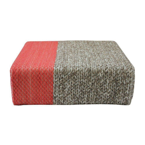 Ira - Handmade Wool Braided Square Pouf | Natural/living Coral | 90X90X30Cm - Poufs