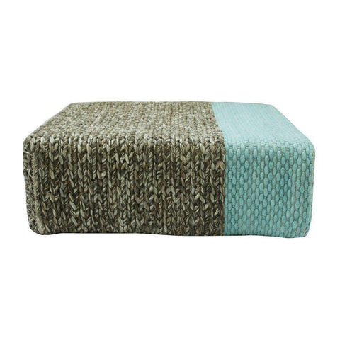 Ira - Handmade Wool Braided Square Pouf | Natural/pastel Turquoise | 90X90X30Cm - Poufs