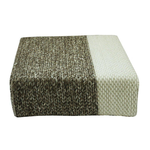 Ira - Handmade Wool Braided Square Pouf | Natural/snow White | 90X90X30Cm - Poufs