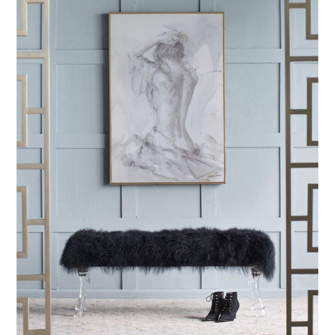 Mongolian Fur And Acrylic Bench Black - Benches