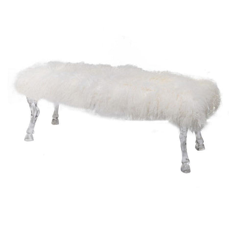 Mongolian Fur And Acrylic Bench White - Benches