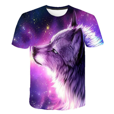 T-shirt loup enfant galaxie