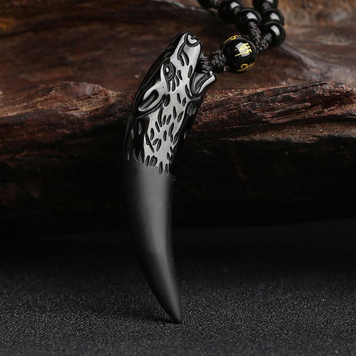 collier loup dent obsidienne