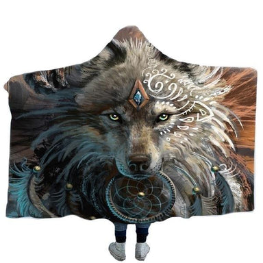 plaid loup indien guerrier plume marron gris blanc adulte et enfant