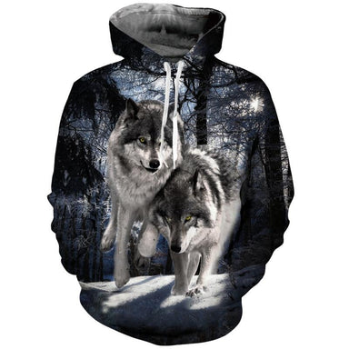 Pull loup forêt neige